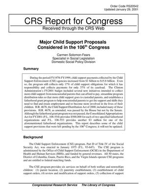 Primary view of object titled 'Major Child Support Proposals Considered in the 106th Congress'.