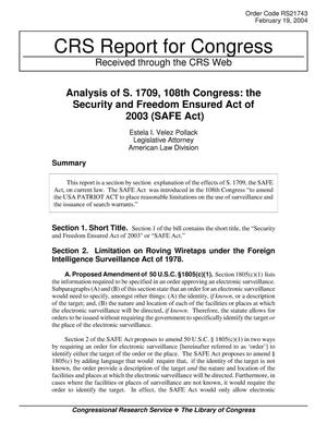 Primary view of object titled 'Analysis of S. 1709, 108th Congress: the Security and Freedom Ensured Act of 2003 (SAFE Act)'.