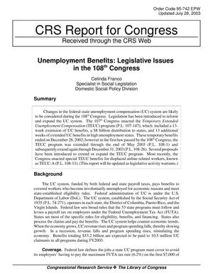 Primary view of Unemployment Benefits: Legislative Issues in the 108th Congress