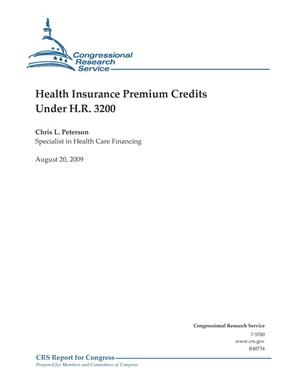 Primary view of object titled 'Health Insurance Premium Credits Under H.R. 3200. August 2009'.