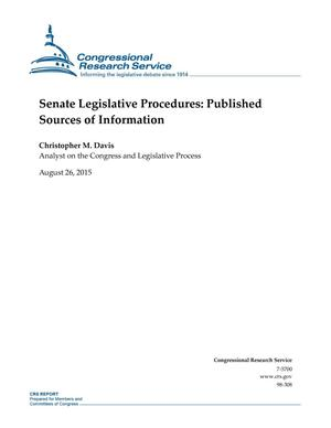 Primary view of object titled 'Senate Legislative Procedures: Published Sources of Information'.