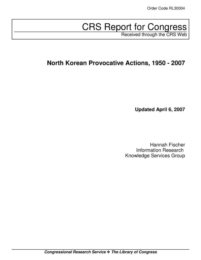 North Korean Provocative Actions, 1950 - 2007 - Digital Library