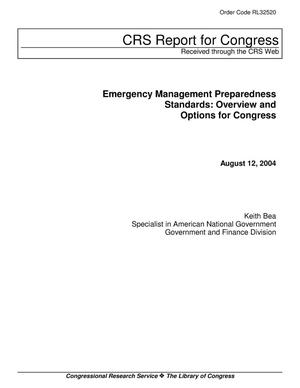 Primary view of object titled 'Emergency Management Preparedness Standards: Overview and Options for Congress'.