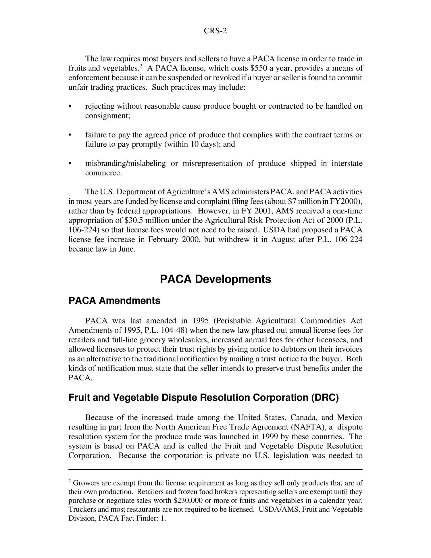 The Perishable Agricultural Commodities Act PACA