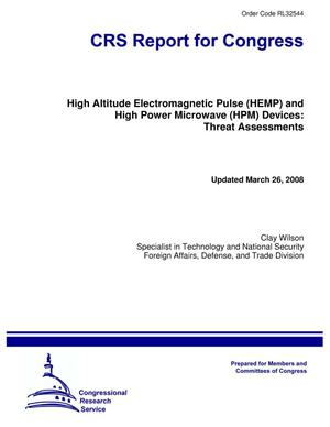 Primary view of object titled 'High Altitude Electromagnetic Pulse (HEMP) and High Power Microwave (HPM) Devices: Threat Assessments'.