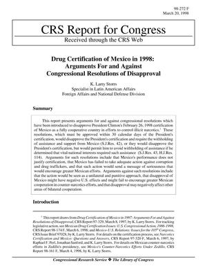 Primary view of object titled 'Drug Certification of Mexico in 1998: Arguments For and Against Congressional Resolutions of Disapproval'.