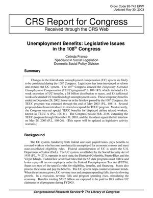Primary view of object titled 'Unemployment Benefits: Legislative Issues in the 108th Congress'.