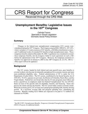 Primary view of object titled 'Unemployment Benefits: Legislative Issues in the 107th Congress'.