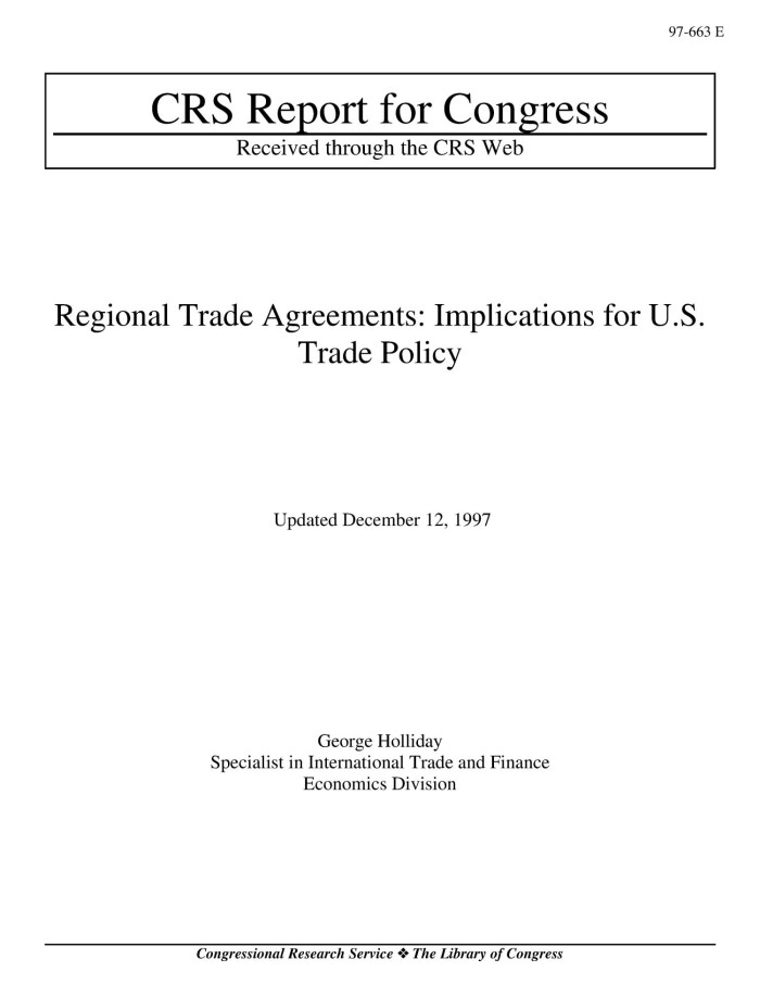 Regional Trade Agreements Implications For Us Trade Policy