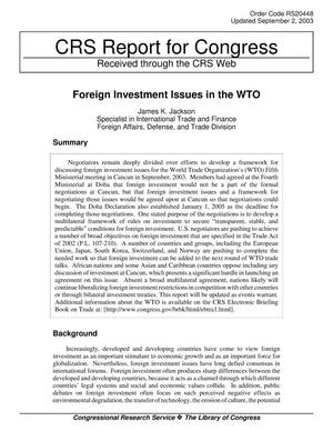 Primary view of object titled 'Foreign Investment Issues in the WTO'.