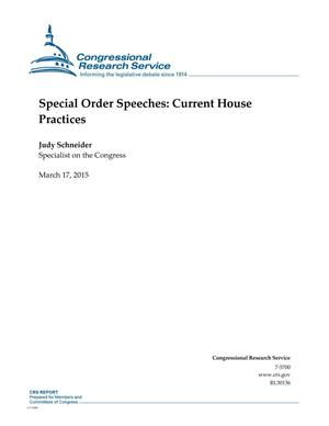 Primary view of object titled 'Special Order Speeches: Current House Practices'.