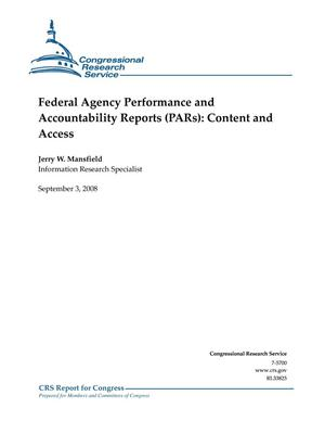 Primary view of object titled 'Federal Agency Performance and Accountability Reports (PARs): Content and Access'.