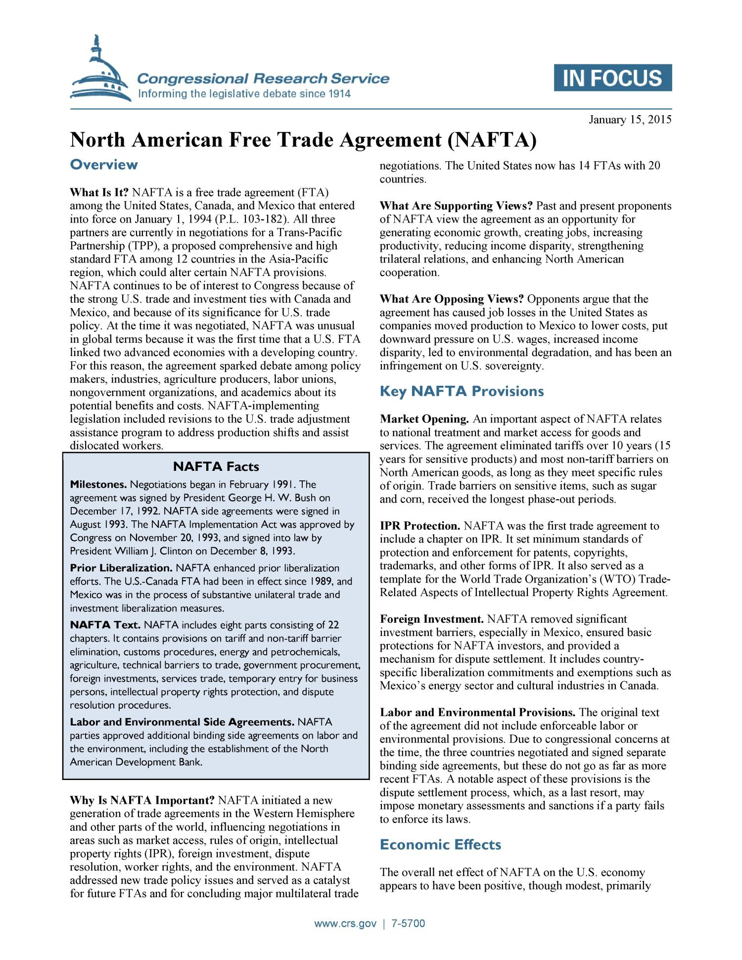 the objectives and impact of the north american free trade agreement nafta The main goal of the north american free trade agreement (nafta) is to reduce barriers to trade and promote economic growth between canada, mexico and the united states negotiations between these three countries began in 1994.