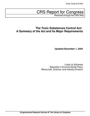 Primary view of object titled 'The Toxic Substances Control Act: A Summary of the Act and Its Major Requirements'.