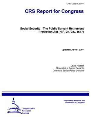 Primary view of object titled 'Social Security: The Public Servant Retirement Protection Act (H.R. 2772/S. 1647)'.