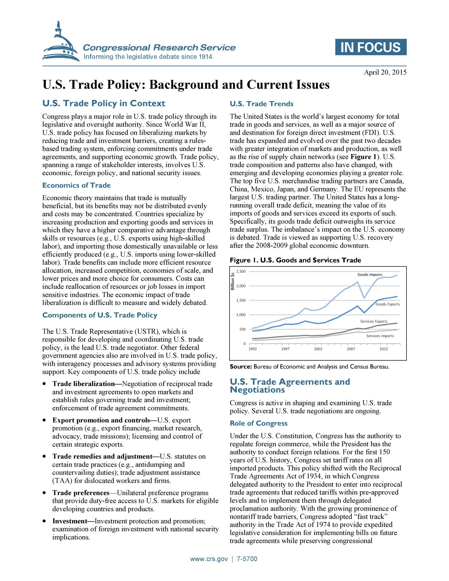 U.S. Trade Policy: Background and Current Issues                                                                                                      [Sequence #]: 1 of 2