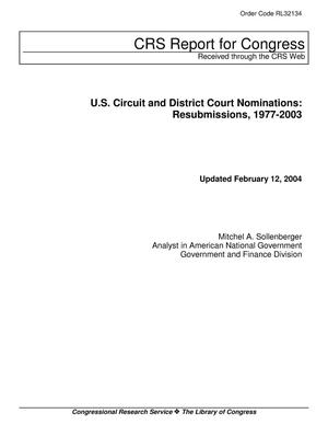 Primary view of object titled 'U.S. Circuit and District Court Nominations: Resubmissions, 1977-2003'.
