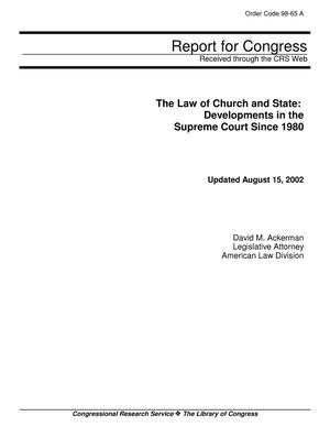 Primary view of object titled 'The Law of Church and State: Developments in the Supreme Court Since 1980'.