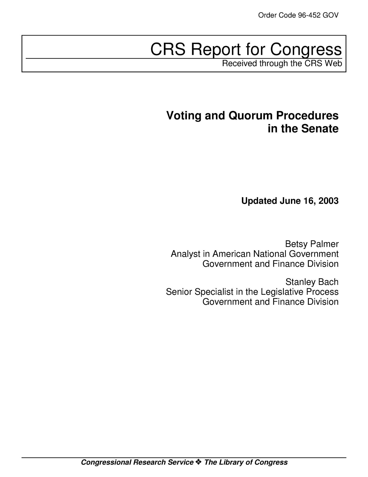 Voting and Quorum Procedures in the Senate                                                                                                      [Sequence #]: 1 of 13