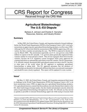 Primary view of object titled 'Agricultural Biotechnology: The U.S.-EU Dispute'.