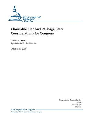 Primary view of object titled 'Charitable Standard Mileage Rate: Considerations for Congress'.