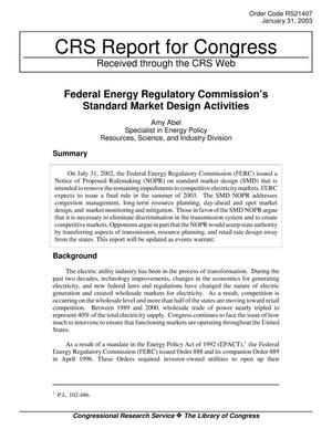 Primary view of object titled 'Federal Energy Regulatory Commissions Standard Market Design Activities'.
