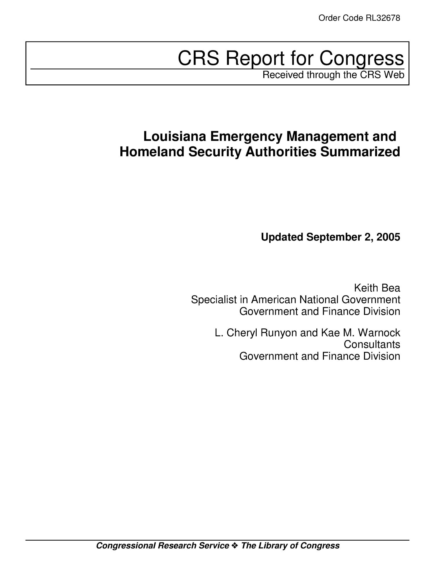 Louisiana Emergency Management and Homeland Security Authorities Summarized                                                                                                      [Sequence #]: 1 of 12