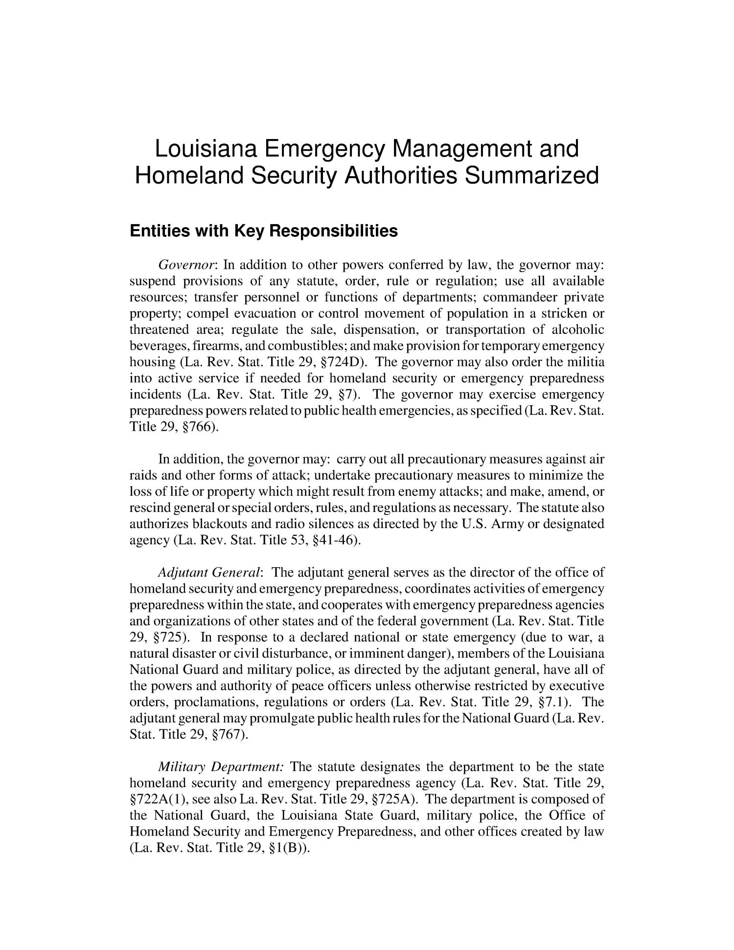 Louisiana Emergency Management and Homeland Security Authorities Summarized                                                                                                      [Sequence #]: 4 of 12
