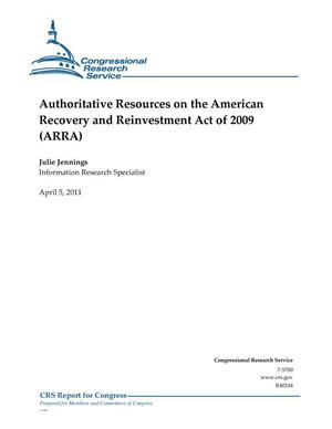 Primary view of object titled 'Authoritative Resources on the American Recovery and Reinvestment Act of 2009 (ARRA)'.