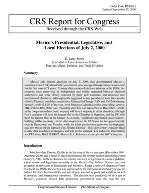 Primary view of object titled 'Mexico's Presidential, Legislative, and Local Elections of July 2, 2000'.