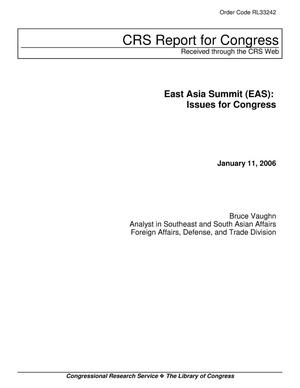 Primary view of object titled 'East Asia Summit (EAS): Issues for Congress'.