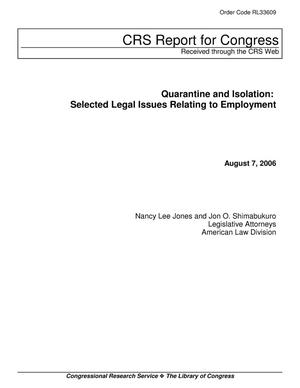 Primary view of object titled 'Quarantine and Isolation: Selected Legal Issues Relating to Employment'.
