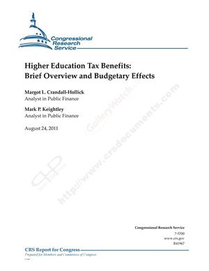 Primary view of object titled 'Higher Education Tax Benefits: Brief Overview and Budgetary Effects'.