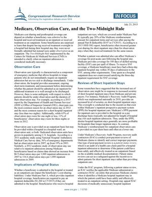 Primary view of object titled 'Medicare, Observation Care, and the Two-Midnight Rule'.