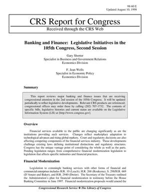 Primary view of object titled 'Banking and Finance: Legislative Initiatives in the 105th Congress, Second Session'.