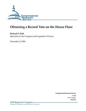 Primary view of object titled 'Obtaining a Record Vote on the House Floor'.