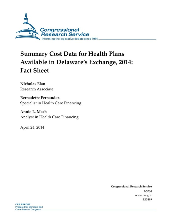 Summary Cost Data For Health Plans Available In Delaware S Exchange
