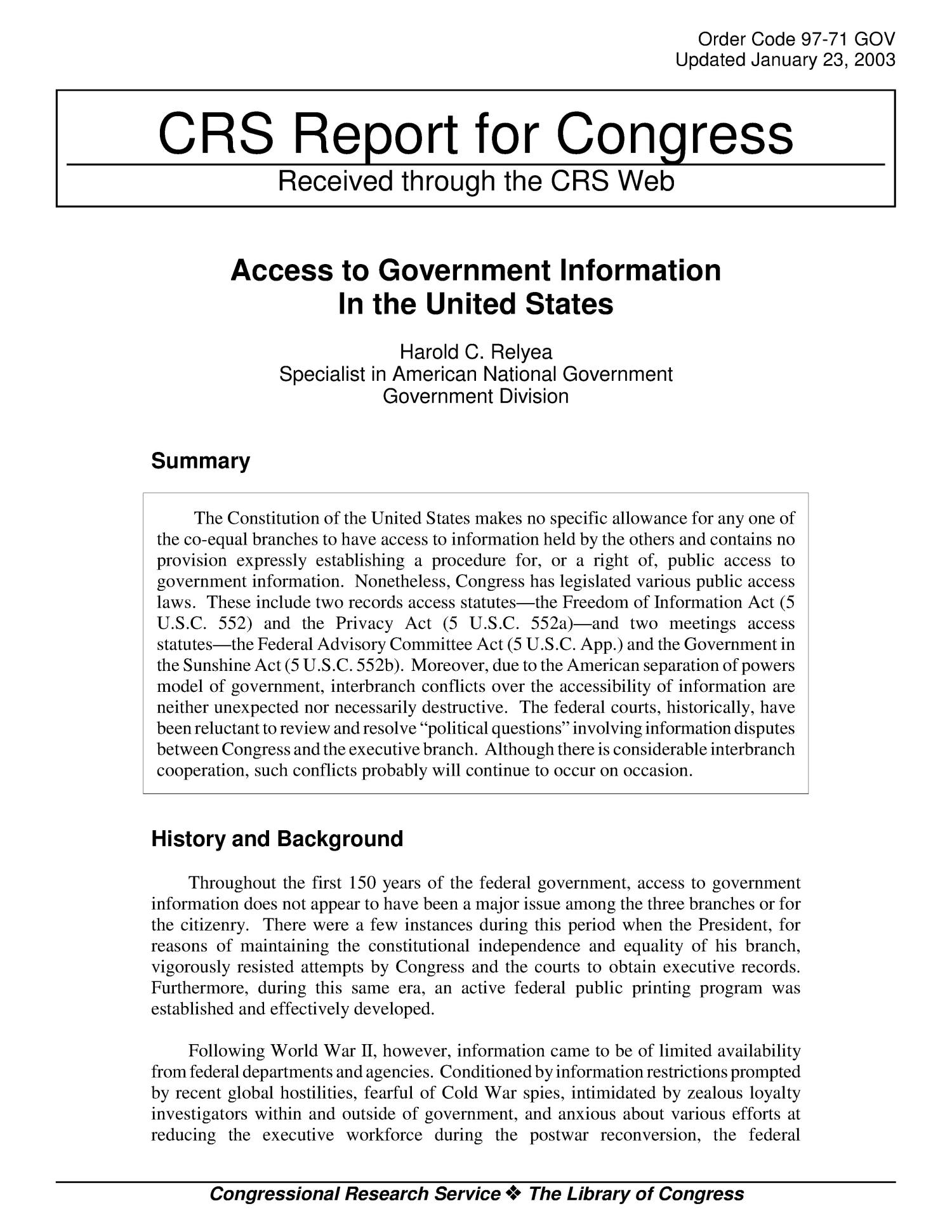 Access to Government Information In the United States                                                                                                      [Sequence #]: 1 of 4