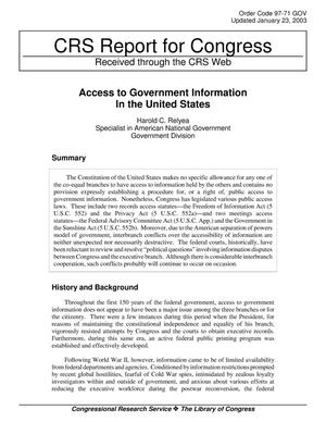 Primary view of object titled 'Access to Government Information In the United States'.