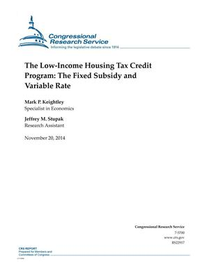 Primary view of object titled 'The Low-Income Housing Tax Credit Program: The Fixed Subsidy and Variable Rate'.