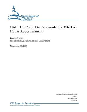 Primary view of object titled 'District of Columbia Representation: Effect on House Apportionment'.