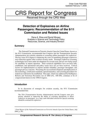 Primary view of object titled 'Detection of Explosives on Airline Passengers: Recommendation of the 9/11 Commission and Related Issues'.