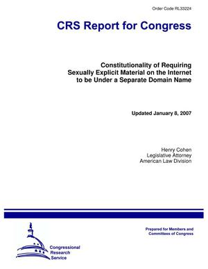 Primary view of object titled 'Constitutionality of Requiring Sexually Explicit Material on the Internet to be Under a Separate Domain Name'.