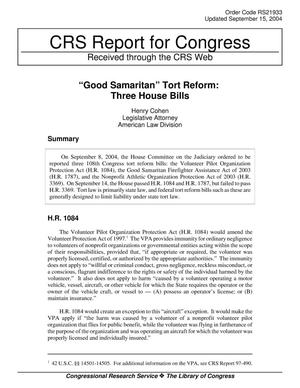"Primary view of object titled '""Good Samaritan"" Tort Reform: Three House Bills'."