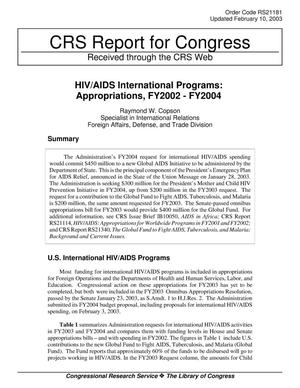 Primary view of object titled 'HIV/AIDS International Programs: Appropriations, FY2002 - FY2004'.