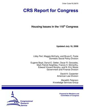 Primary view of object titled 'Housing Issues in the 110th Congress'.