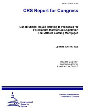 Primary view of object titled 'Constitutional Issues Relating to Proposals for Foreclosure Moratorium Legislation That Affects Existing Mortgages'.