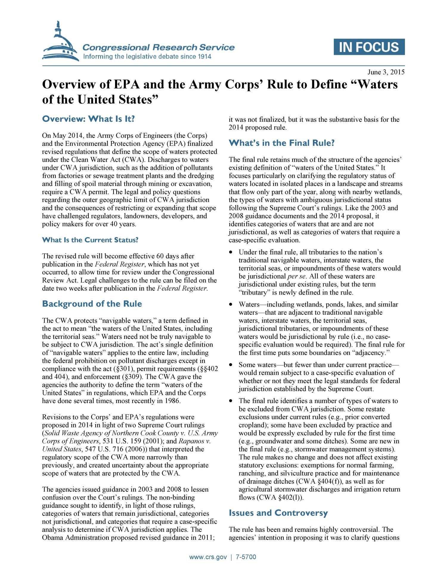 """Overview of EPA and the Army Corps' Rule to Define """"Waters"""