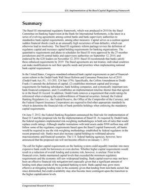 U.S. Implementation of the Basel Capital Regulatory Framework