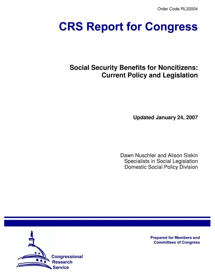 Social Security Benefits For Noncitizens Current Policy And